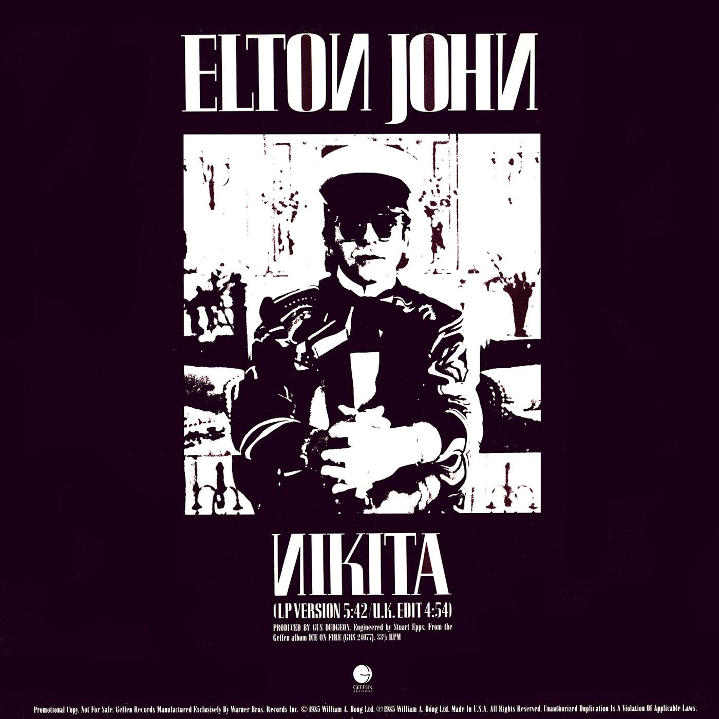 Elton John Nikita U K Edit Us 12 Promo 1985 In