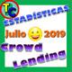 ESTADÍSTICAS CROWDLENDING - Oleada Julio 2019 - Volumen de negocio, inversores registrados, rentabilidad...