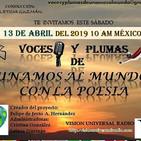 Programa del 130419 de Voces y plumas de Unamos al mundo con la poesía