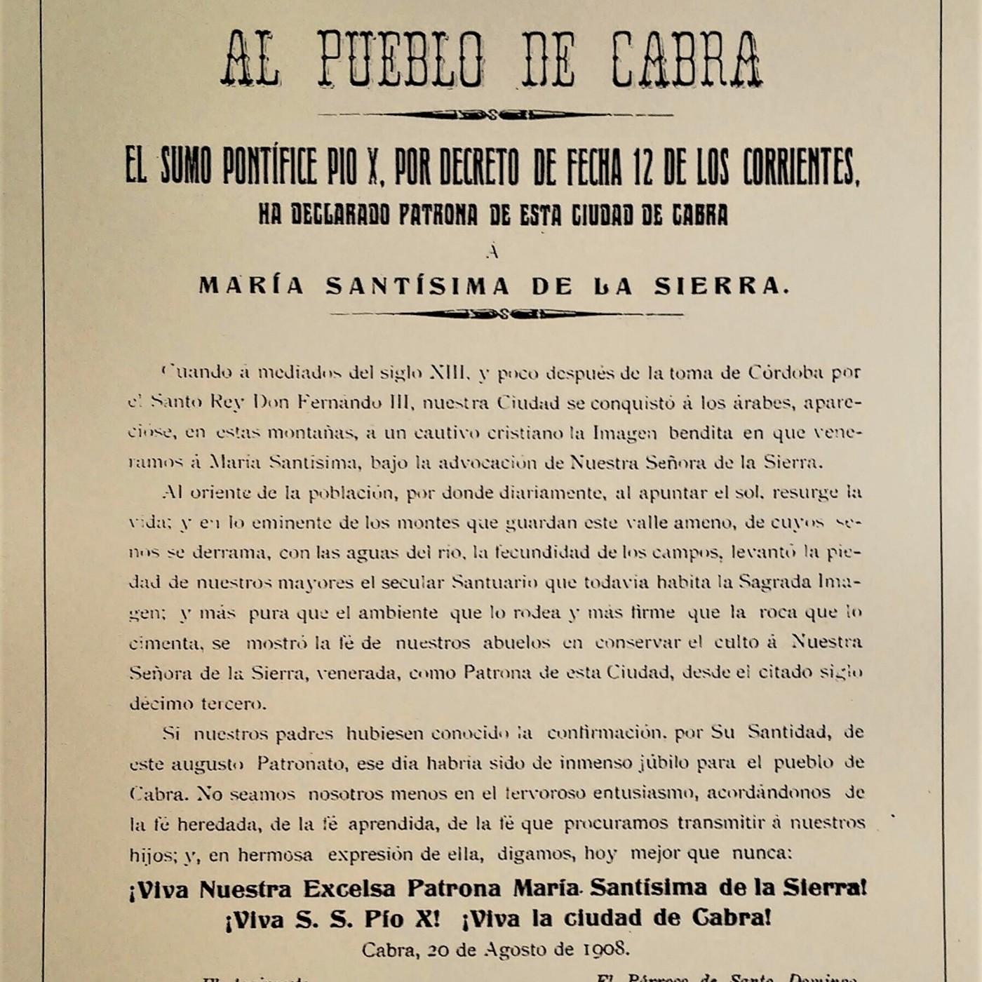 LA HISTORIA ENTRE LÍNEAS: Virgen de la Sierra, Patrona de Cabra por Pío X